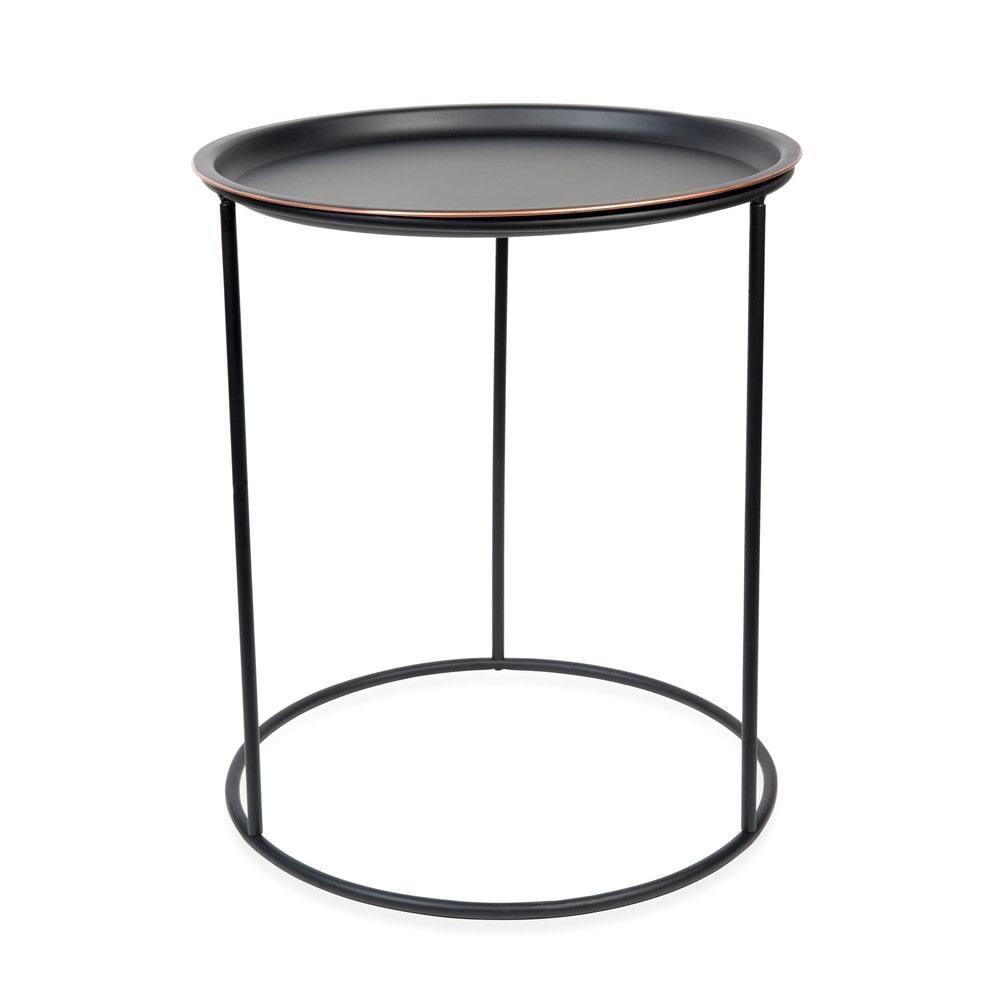 beistelltisch gary black aus metall d 40 cm schwarz. Black Bedroom Furniture Sets. Home Design Ideas