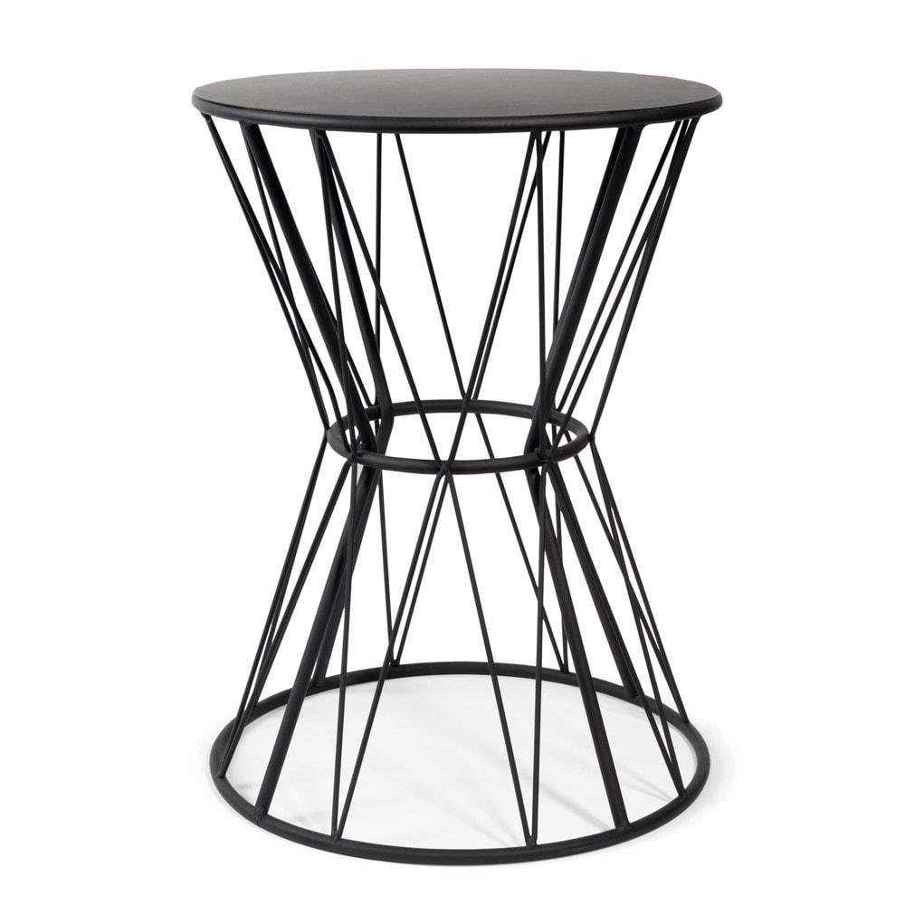 beistelltisch grafik aus metall d 33 cm schwarz. Black Bedroom Furniture Sets. Home Design Ideas