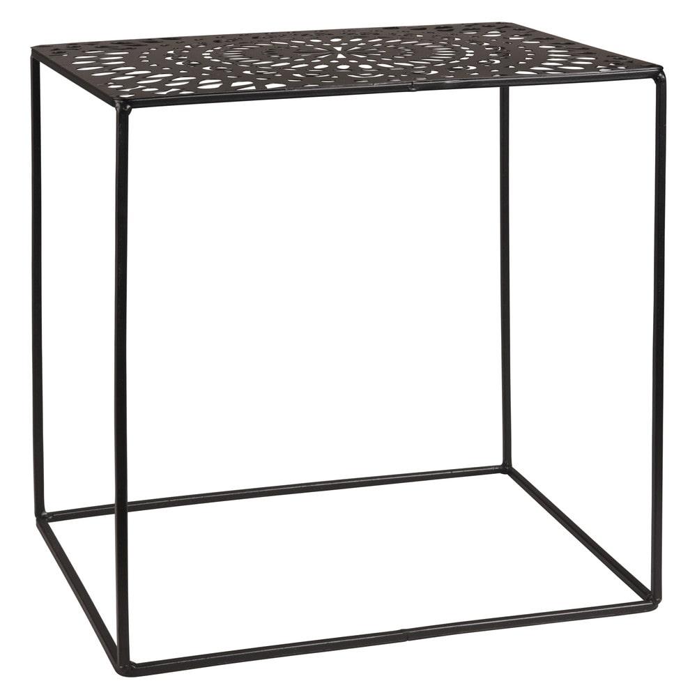 beistelltisch mit lochmuster aus metall schwarz maisons. Black Bedroom Furniture Sets. Home Design Ideas