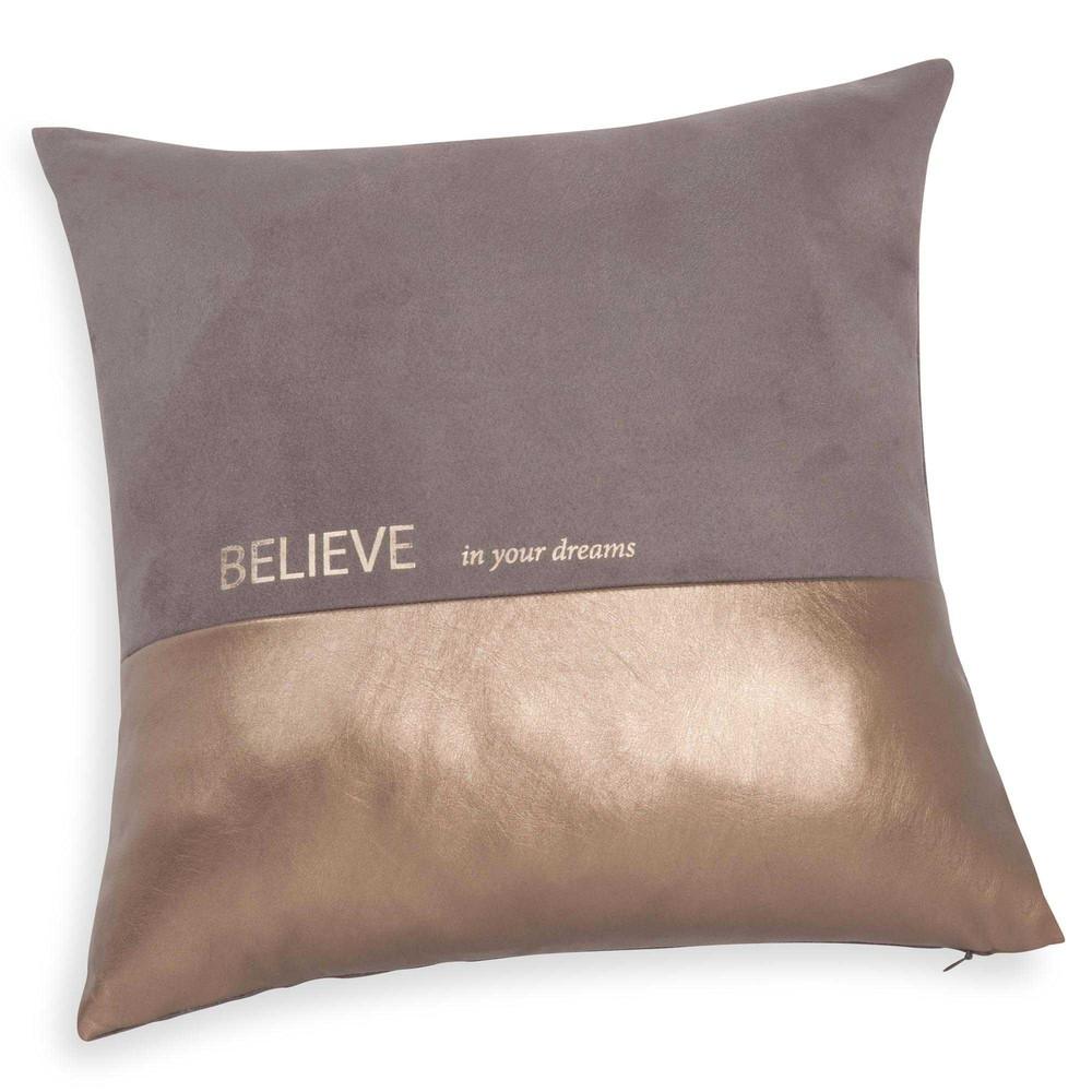 Believe brown gold cushion cover 40 x 40 cm maisons du monde - Coussin maison du monde ...