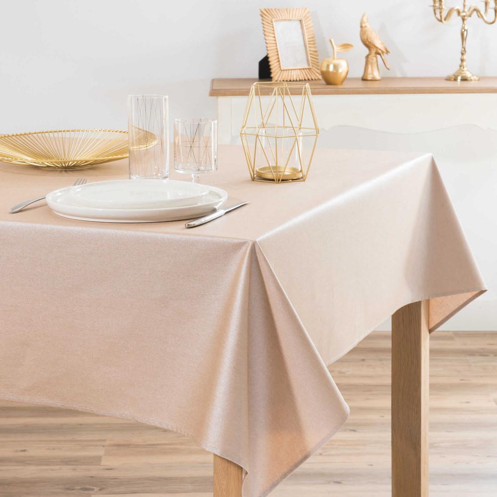 beschichtete tischdecke goldfarben 140 x 250 cm mirage maisons du monde. Black Bedroom Furniture Sets. Home Design Ideas