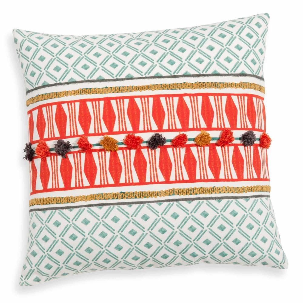bestickter kissenbezug aus baumwolle bunt 40x40 cm xalapa maisons du monde. Black Bedroom Furniture Sets. Home Design Ideas