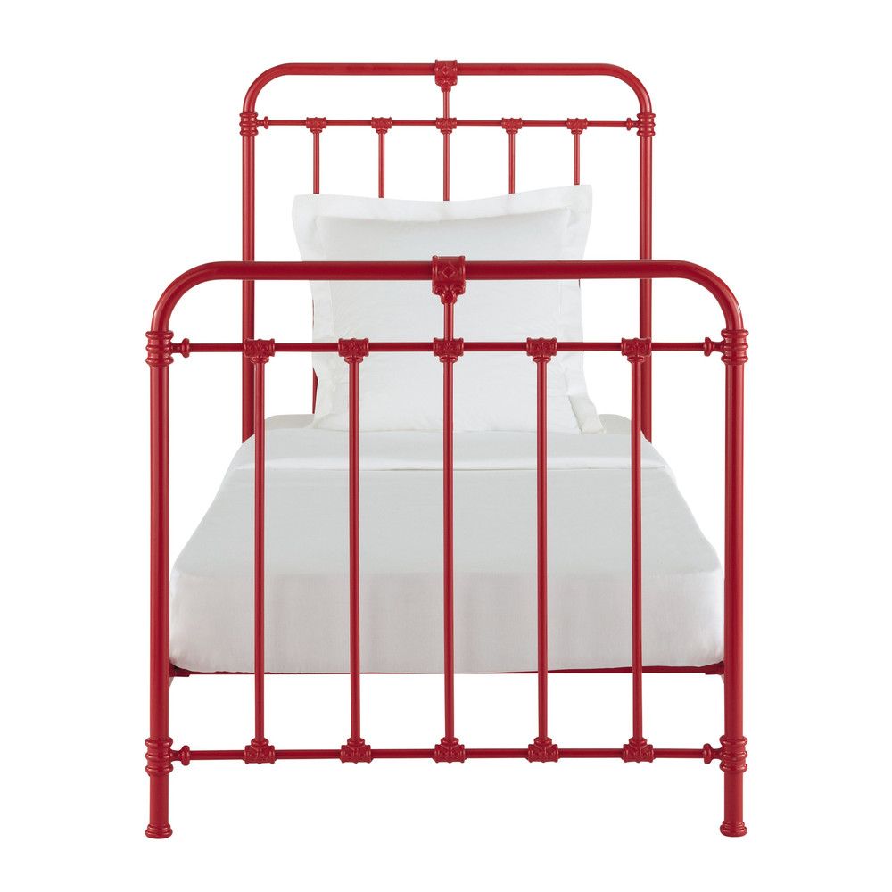 Bett aus Metall, 90 x 190 cm, rot Nicolas  Maisons du Monde