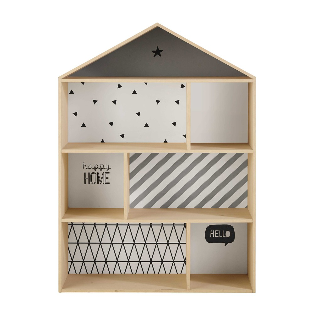 Biblioteca a forma di casa in legno per bambini l 102 cm - Casa di legno per bambini ...