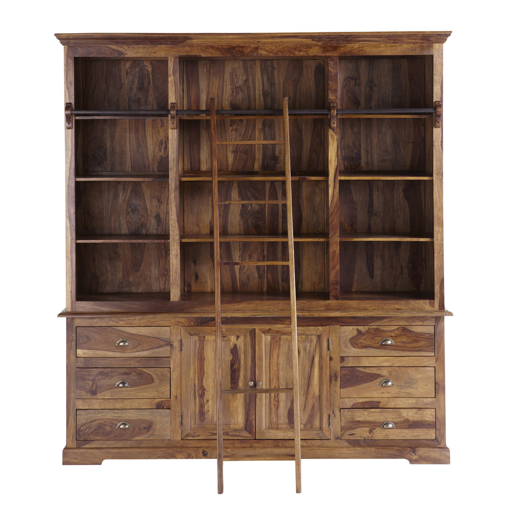 biblioteca con escalera de madera maciza de palo rosa an cm