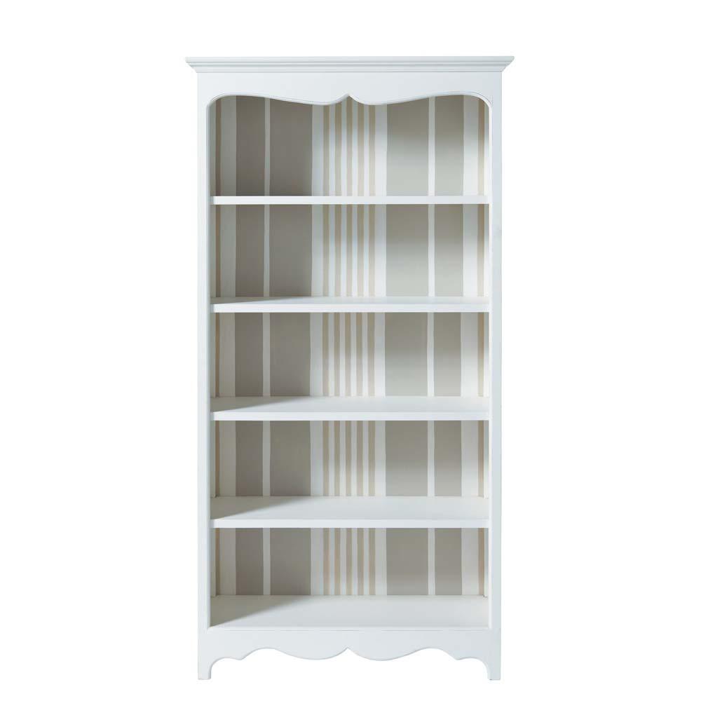 Biblioteca de madera blanca an 100 cm justine maisons - Biblioteca madera blanca ...