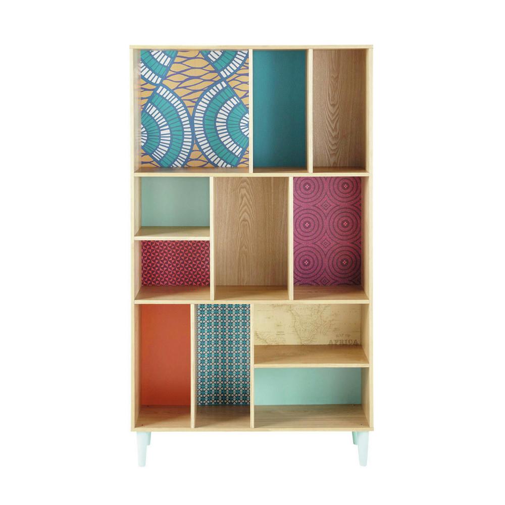 biblioteca de madera de colores an 100 cm bamako maisons du monde. Black Bedroom Furniture Sets. Home Design Ideas