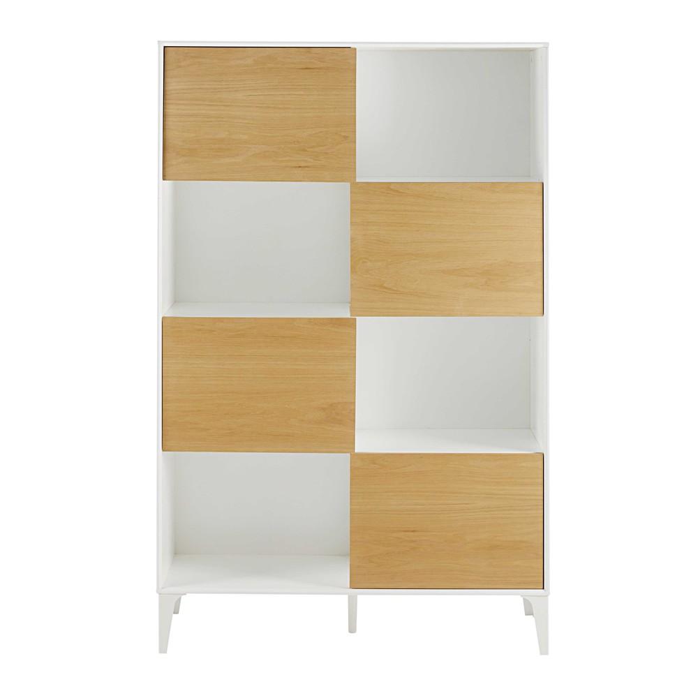 Bibliotheek met 4 deurtjes en wit cm kara maisons du monde - Eigentijdse boekenkasten ...
