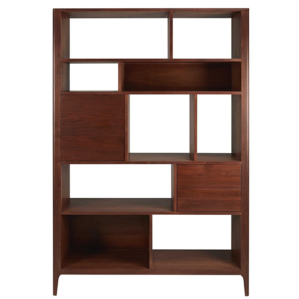 biblioth que 1 porte 2 tiroirs en noyer massif buckingham maisons du monde. Black Bedroom Furniture Sets. Home Design Ideas