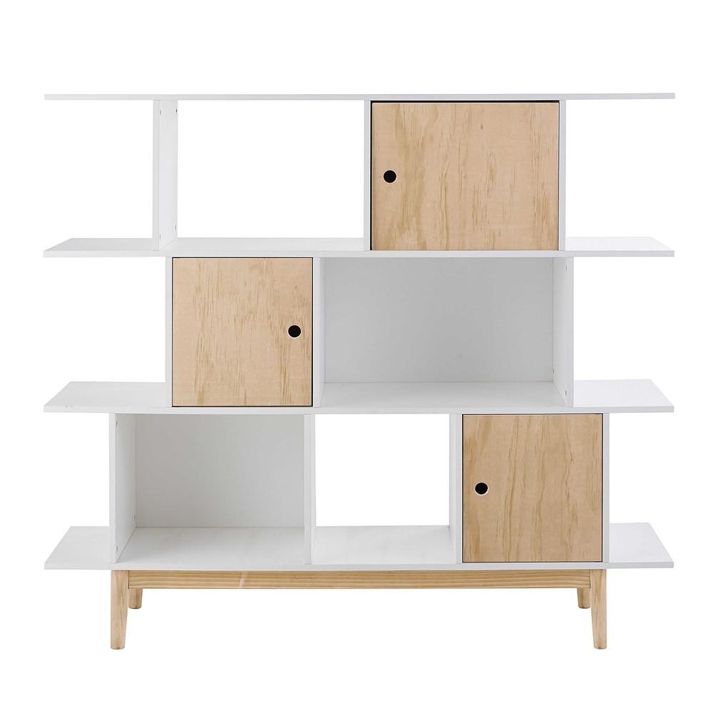 biblioth que 3 portes blanche happy maisons du monde. Black Bedroom Furniture Sets. Home Design Ideas