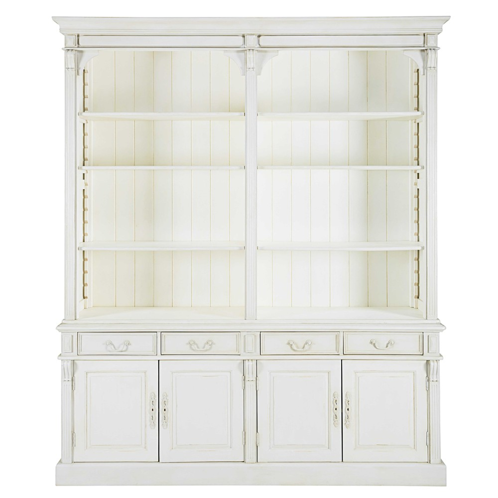 biblioth que 4 portes 4 tiroirs blanche patin e palombe. Black Bedroom Furniture Sets. Home Design Ideas