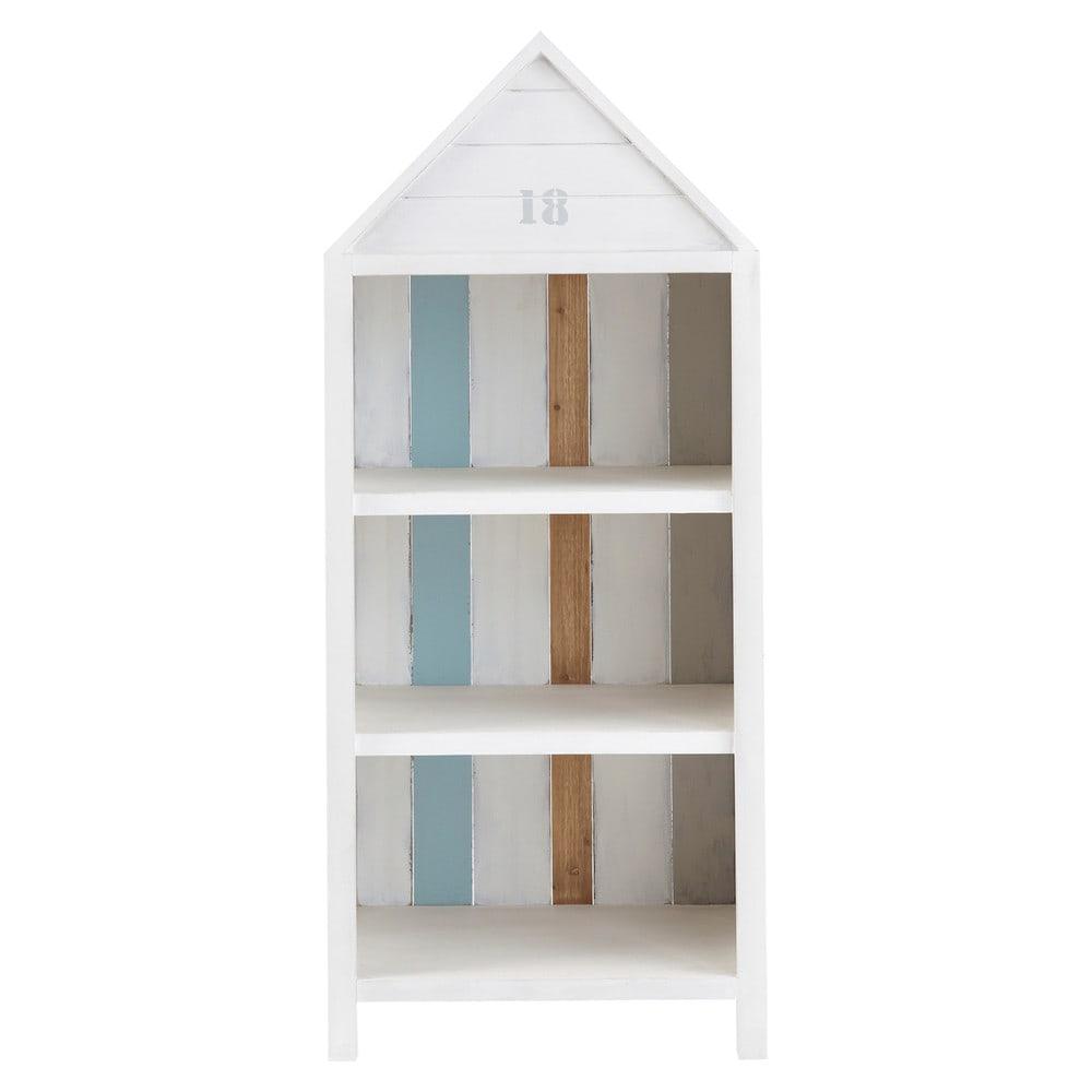 biblioth que cabine de plage en bois blanc l 60 cm oc an. Black Bedroom Furniture Sets. Home Design Ideas