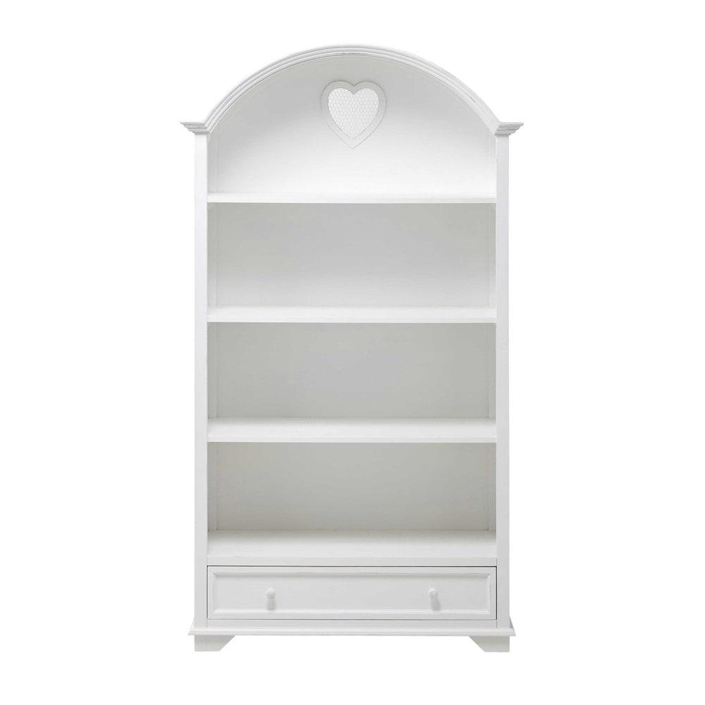 biblioth que en bois blanc l 95 cm valentine maisons du. Black Bedroom Furniture Sets. Home Design Ideas