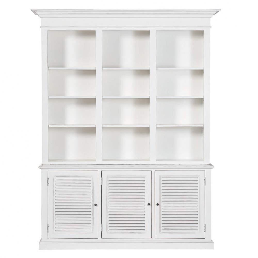 biblioth que en bois blanche l 180 cm biarritz maisons. Black Bedroom Furniture Sets. Home Design Ideas
