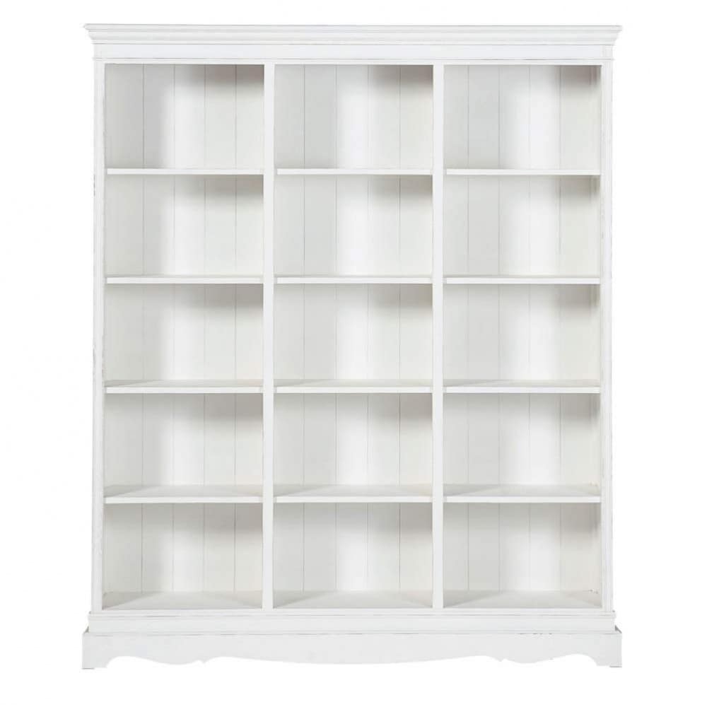 biblioth que en bois de paulownia blanche l 160 cm. Black Bedroom Furniture Sets. Home Design Ideas