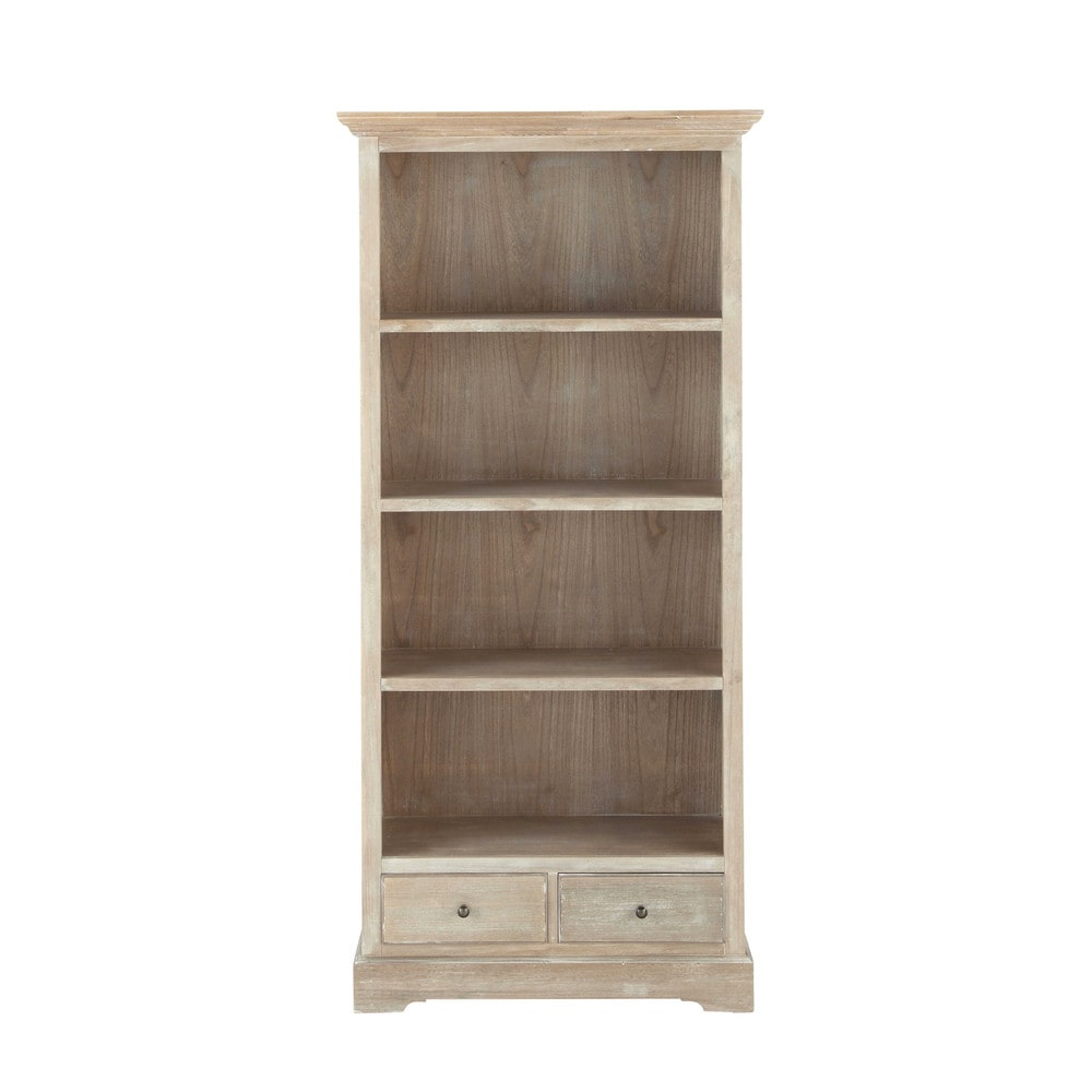 biblioth que en bois de paulownia grise l 85 cm cavaillon. Black Bedroom Furniture Sets. Home Design Ideas