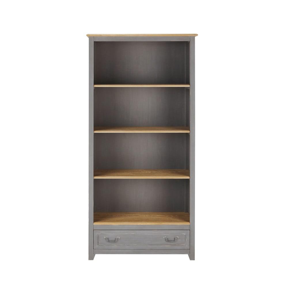 biblioth que en bois grise l 90 cm honorine maisons du monde. Black Bedroom Furniture Sets. Home Design Ideas