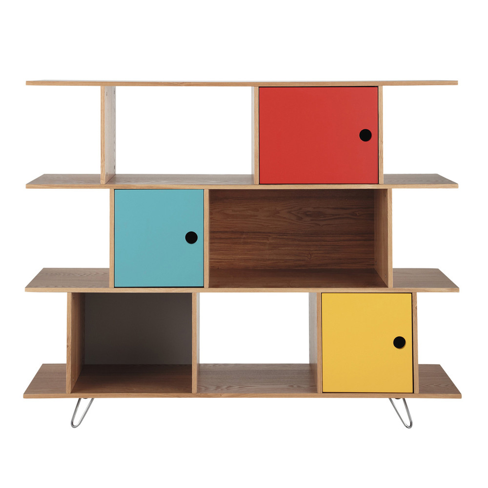 biblioth que en bois multicolore l 145 cm happy maisons du monde. Black Bedroom Furniture Sets. Home Design Ideas