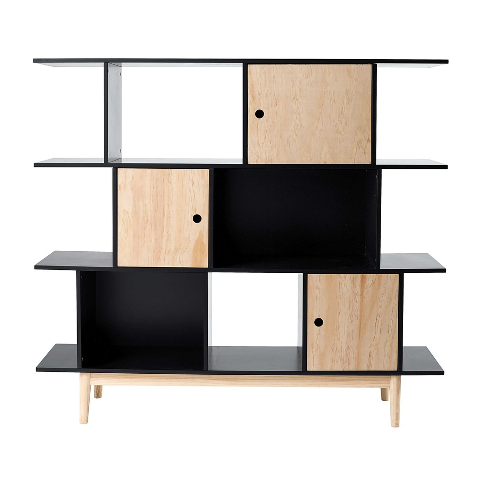 biblioth que en bois noir l 145 cm happy maisons du monde. Black Bedroom Furniture Sets. Home Design Ideas