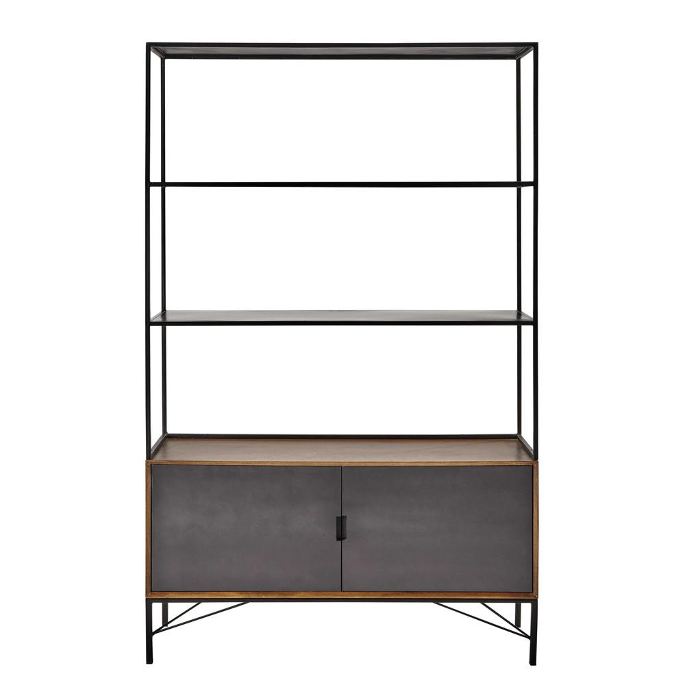 biblioth que en m tal noir l 120 cm arty maisons du monde. Black Bedroom Furniture Sets. Home Design Ideas