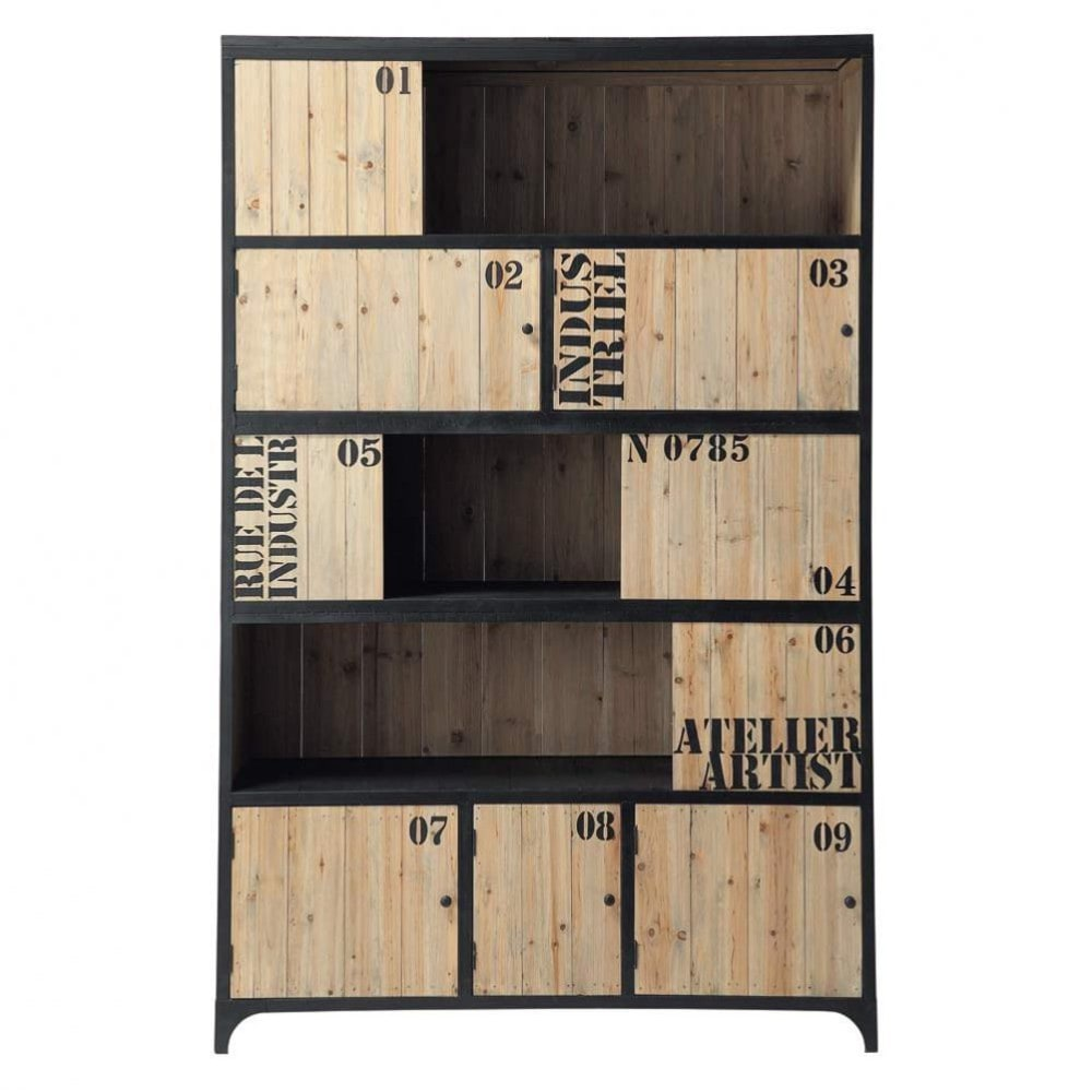 biblioth que en m tal noire l 130 cm docks maisons du monde. Black Bedroom Furniture Sets. Home Design Ideas