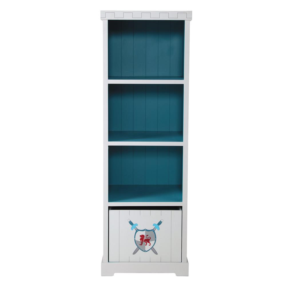 Biblioth que enfant en bois grise et bleue l 55 cm chevalier maisons du monde for Petite bibliotheque enfant