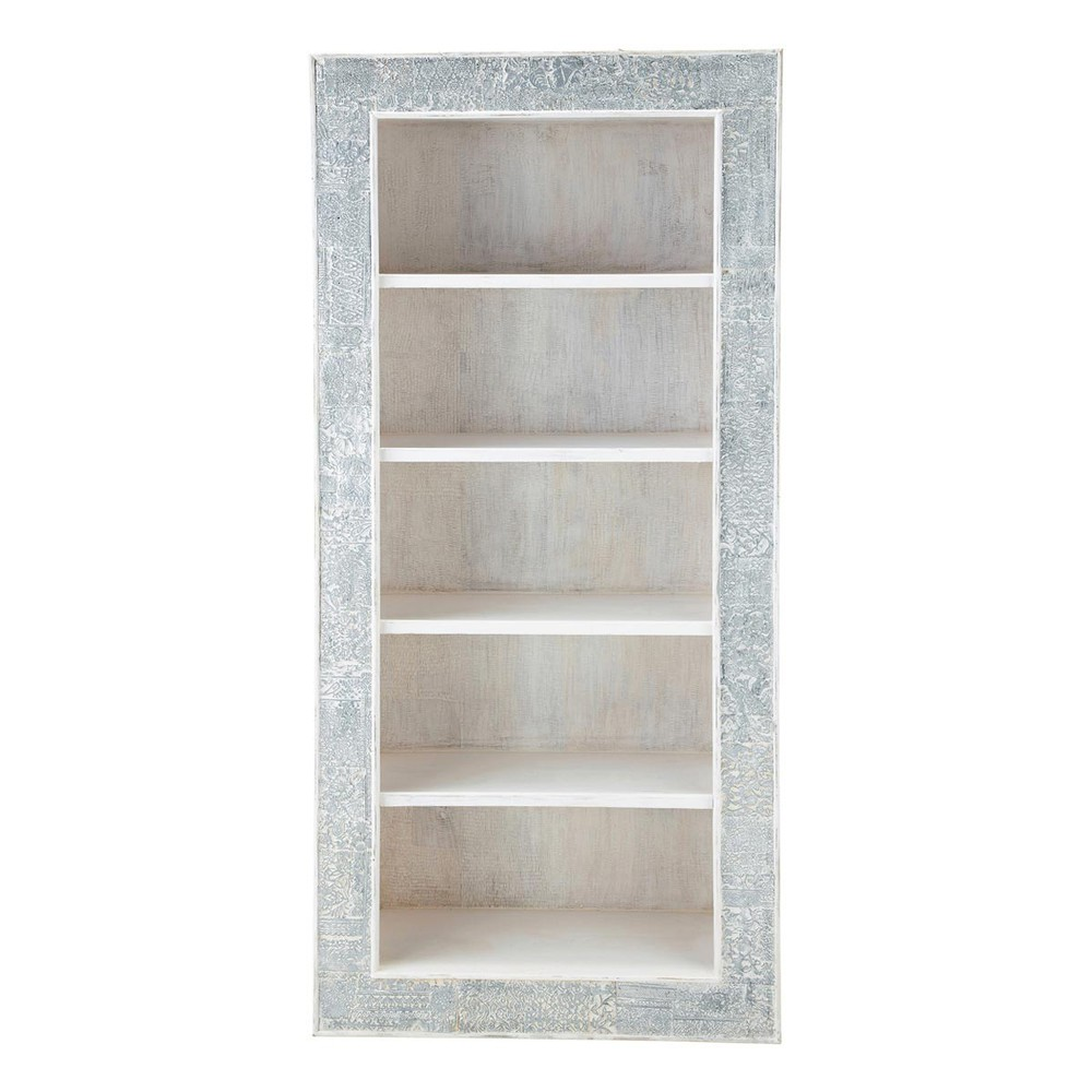 Biblioth que indienne en manguier massif blanche l 90 cm for Bois de manguier meuble