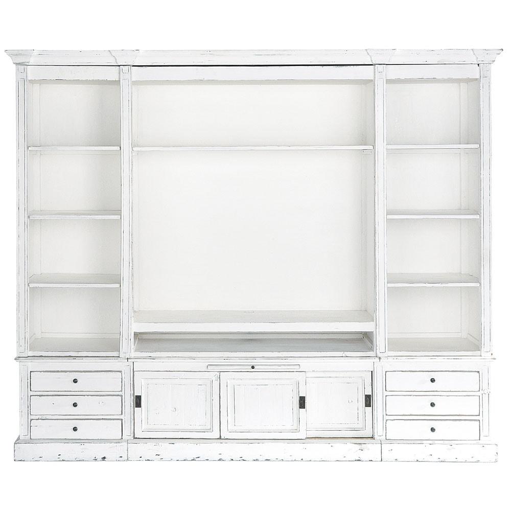 Biblioth que meuble tv en bois massif ivoire l 264 cm - Meuble bibliotheque maison du monde ...