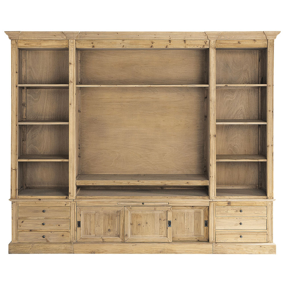 biblioth que meuble tv en bois massif recycl l 264 cm. Black Bedroom Furniture Sets. Home Design Ideas