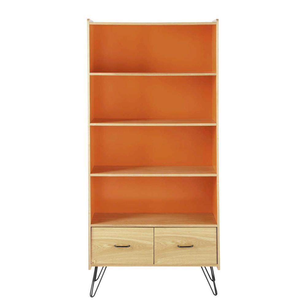 biblioth que vintage en bois orange l 85 cm twist. Black Bedroom Furniture Sets. Home Design Ideas