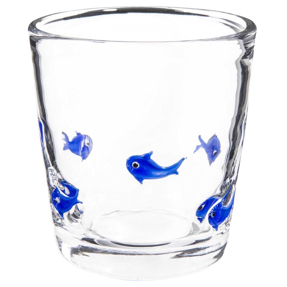 bicchiere in vetro con motivi di pesci blu maisons du monde. Black Bedroom Furniture Sets. Home Design Ideas