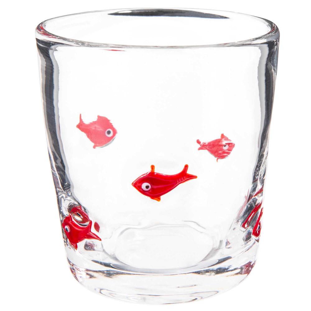 Bicchiere in vetro con motivi di pesci rossi maisons du for Pesci rossi prezzo