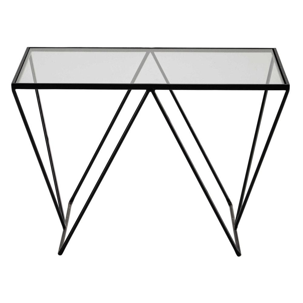 Bijzettafel zwart metaal met glazen blad lengte 60 cm archy maisons du monde - Metaal schorsing en glazen ...