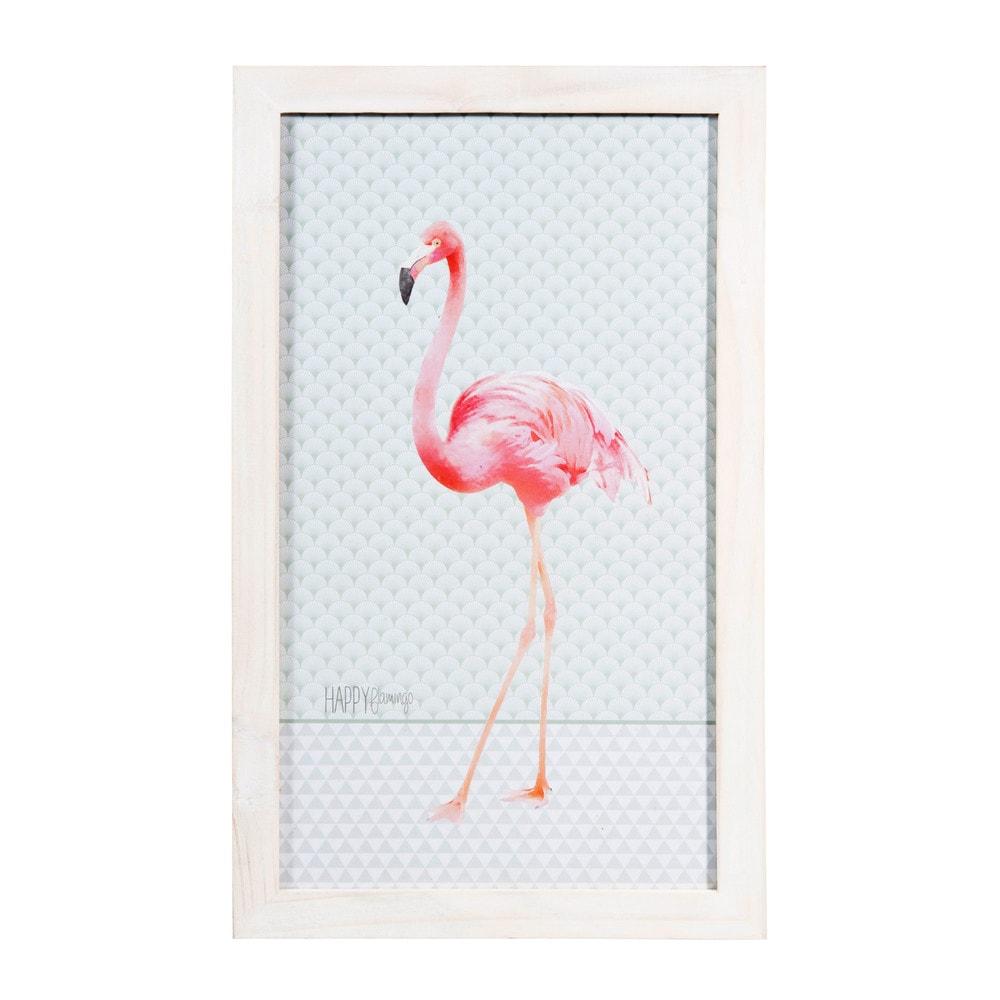bild aus holz 28 x 46 cm happy flamingo maisons du monde. Black Bedroom Furniture Sets. Home Design Ideas