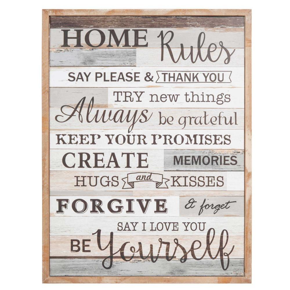 bild aus holz 50 x 65 cm home rules maisons du monde. Black Bedroom Furniture Sets. Home Design Ideas