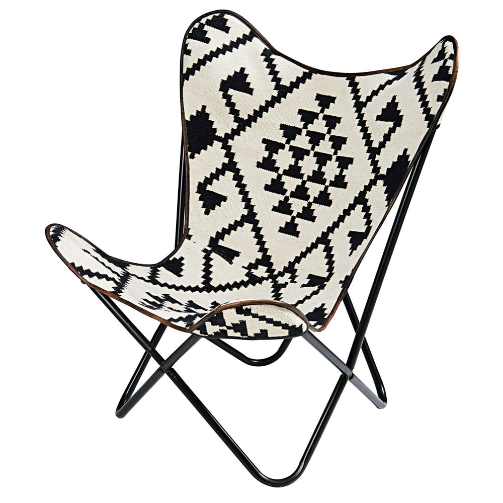 black and white patterned kilim armchair palmyre maisons. Black Bedroom Furniture Sets. Home Design Ideas