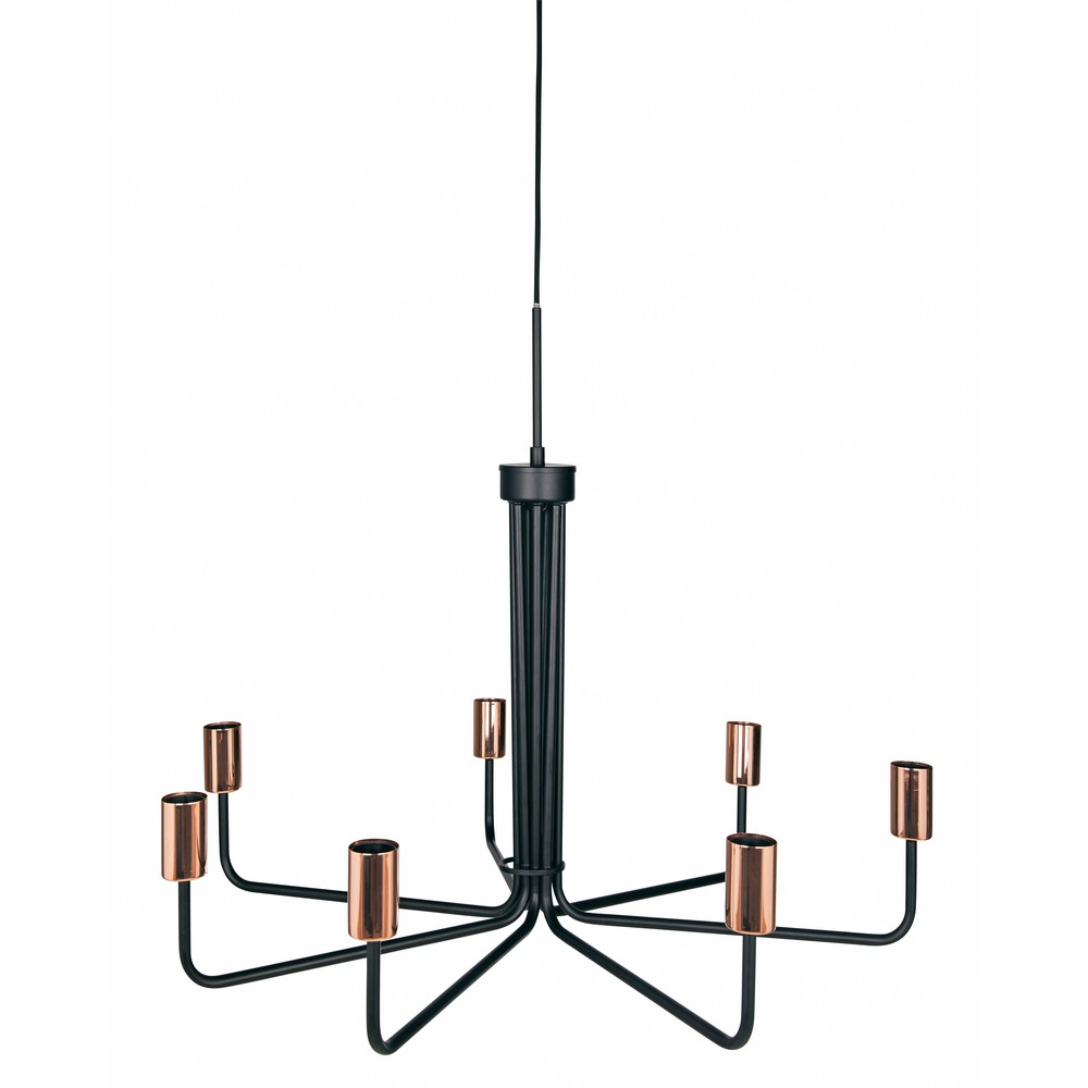Black metal 7 branch chandelier d 81 cm betty maisons du for Lustre metal noir