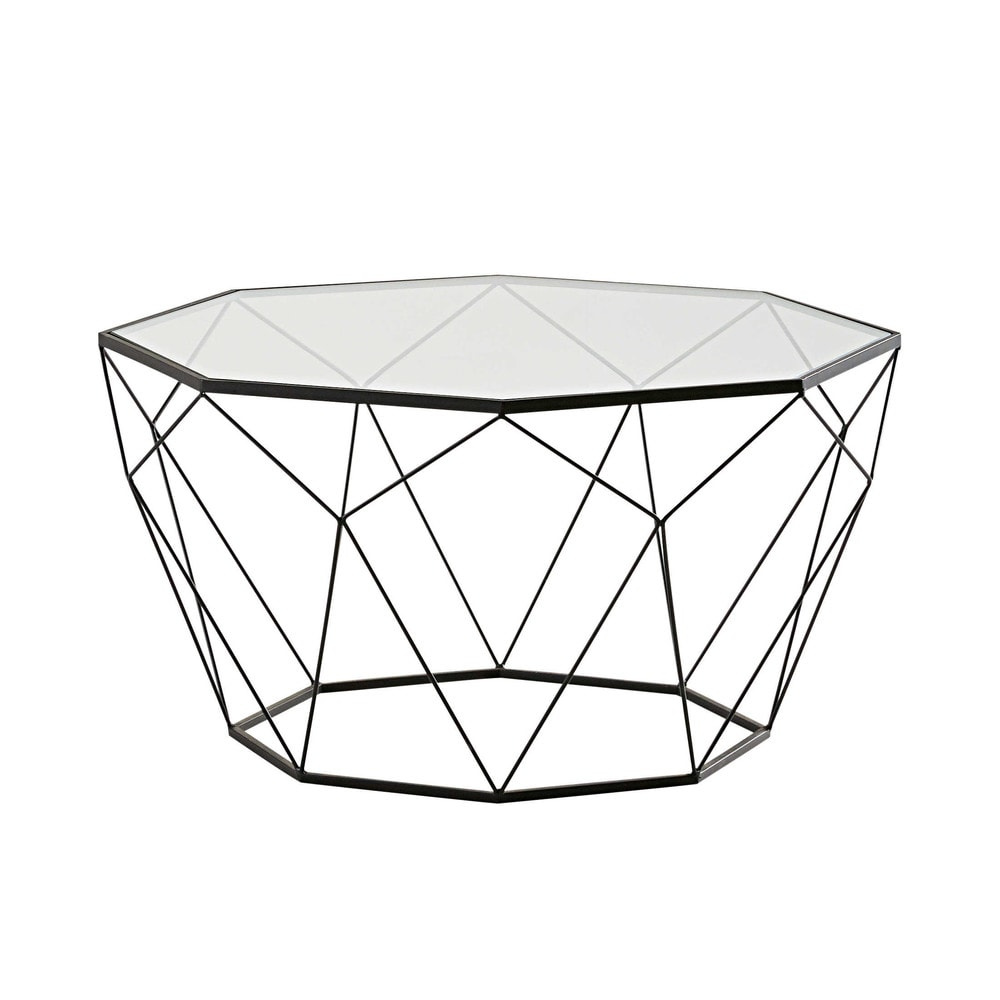 Black metal and tempered glass coffee table blossom - Petite table basse noire ...