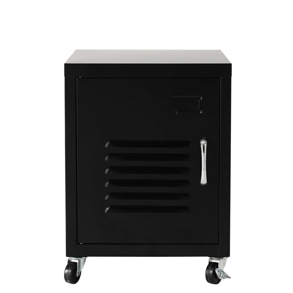 black metal bedside table on castors l 37 cm loft. Black Bedroom Furniture Sets. Home Design Ideas