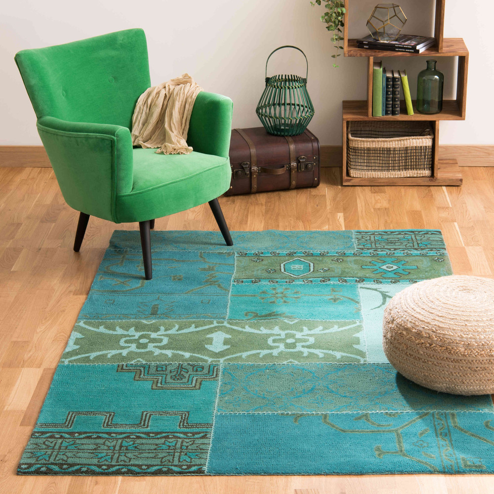 Blauw wollen izmir tapijt 140 x 200 cm maisons du monde - Blauwe turquoise decoratie ...