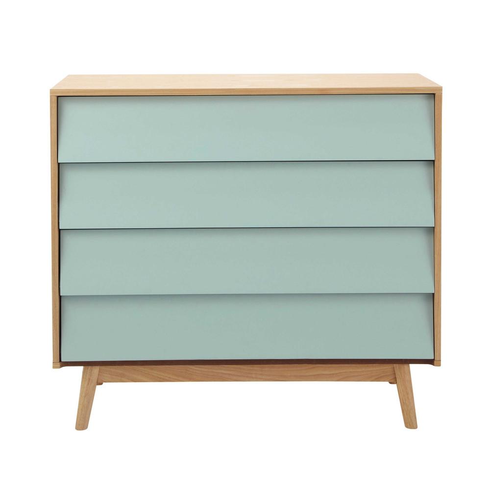 blauwe houten vintage ladekast b 90 cm fjord maisons du monde. Black Bedroom Furniture Sets. Home Design Ideas