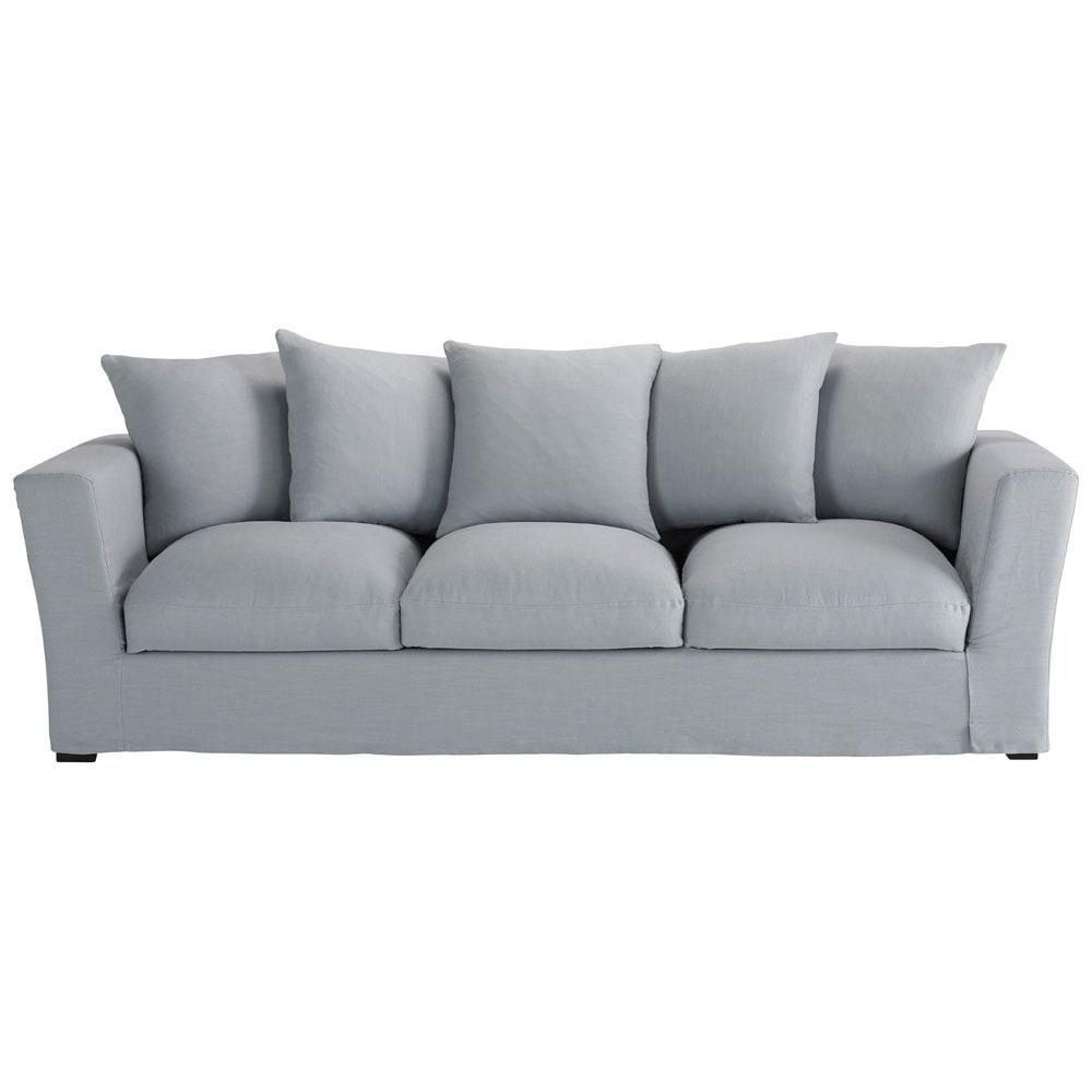 blauwe linnen 4 plaatsen zitbank bruxelles maisons du monde. Black Bedroom Furniture Sets. Home Design Ideas