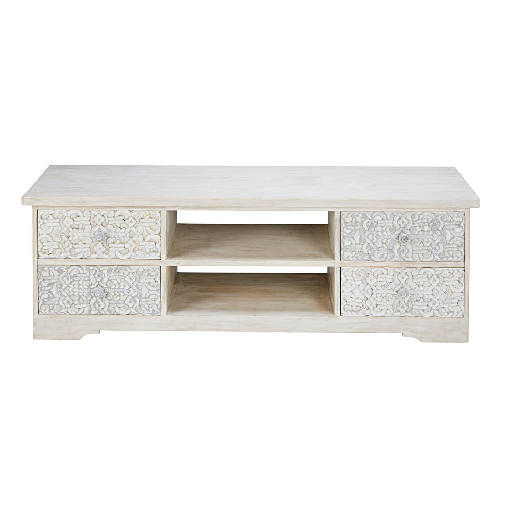 bleached and sculpted mango wood tv unit namaste maisons. Black Bedroom Furniture Sets. Home Design Ideas