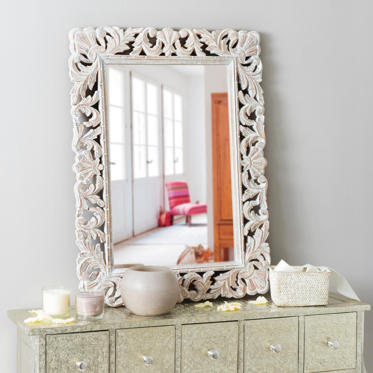 Bleached Mango Wood Mirror 60x80 Kyara Maisons Du Monde
