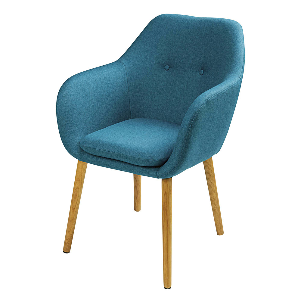Blue fabric armchair Arnold | Maisons du Monde