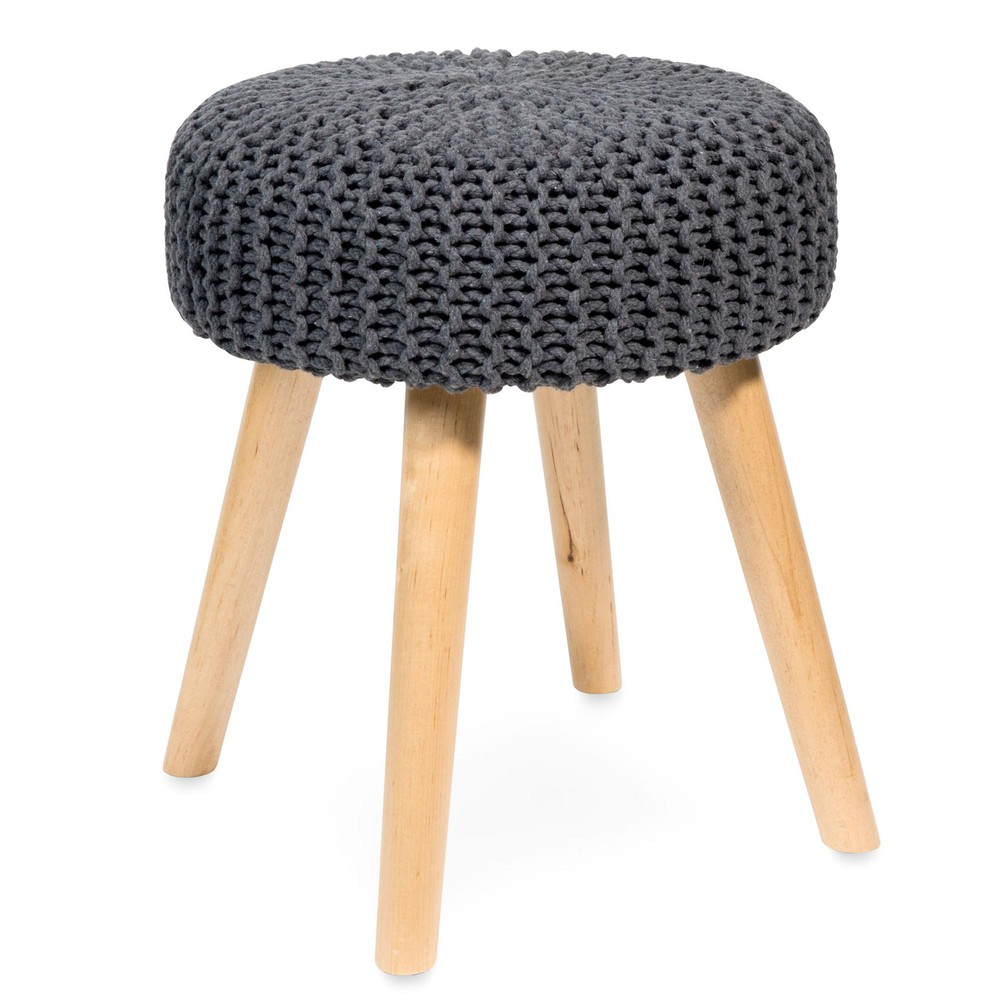 blumberg grey knitted and birch feet stool maisons du monde. Black Bedroom Furniture Sets. Home Design Ideas