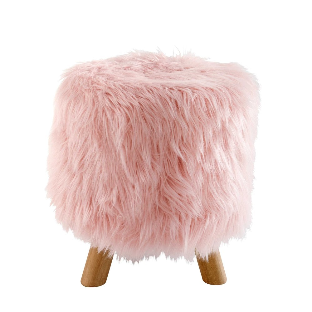 blush pink faux fur stool maisons du monde. Black Bedroom Furniture Sets. Home Design Ideas