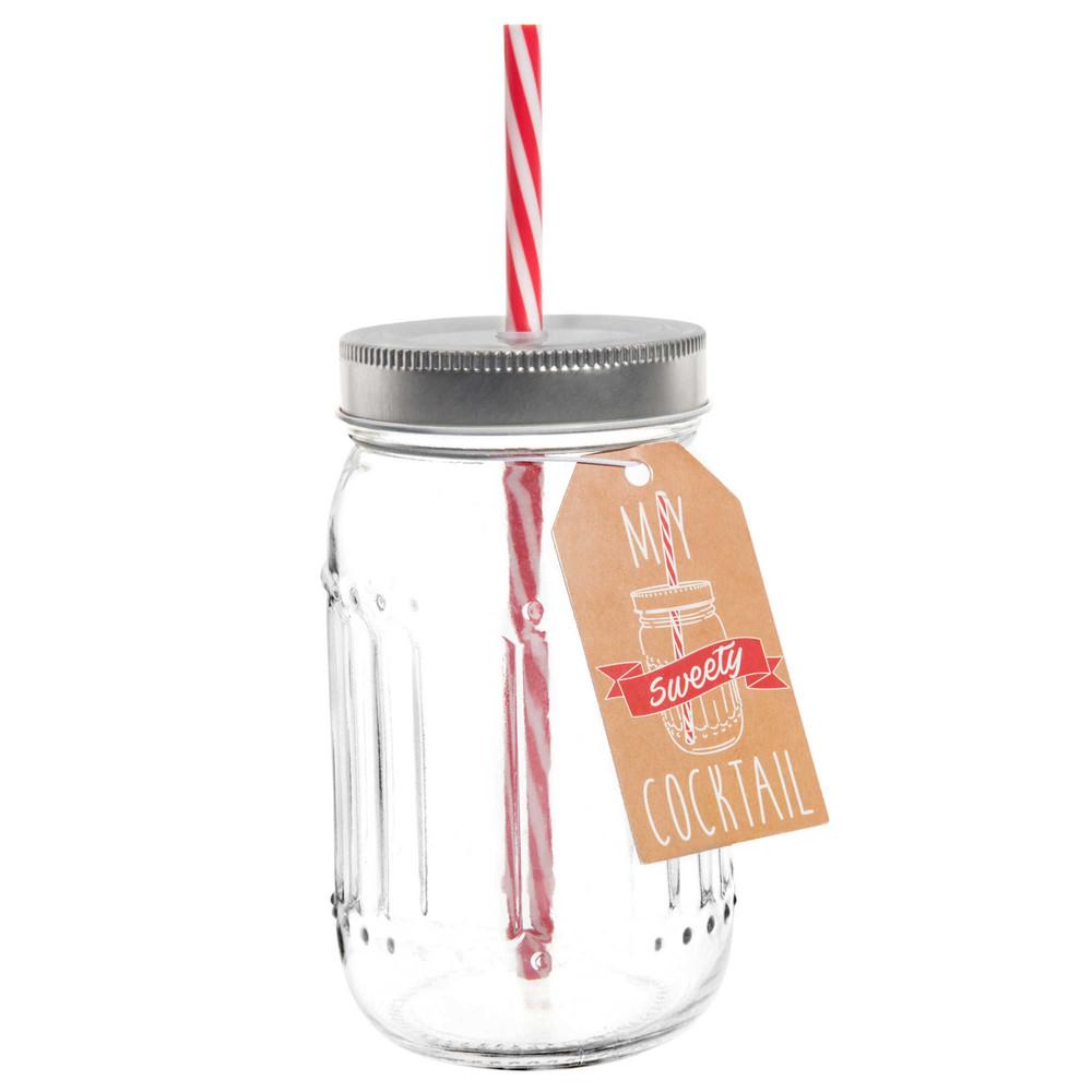 Bocal avec paille en verre h 14 cm sweety maisons du monde for Decoration bocal en verre