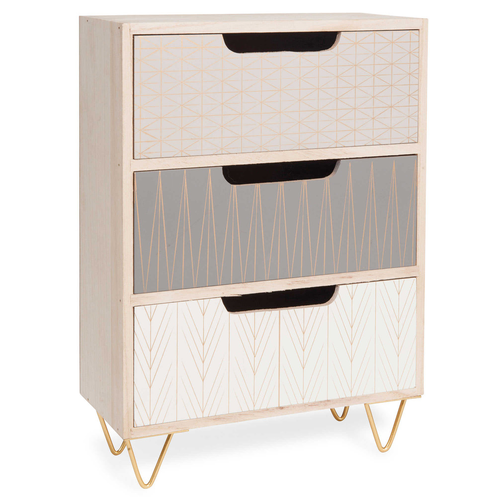 bo te 3 tiroirs en bois h 35 cm scoop maisons du monde. Black Bedroom Furniture Sets. Home Design Ideas