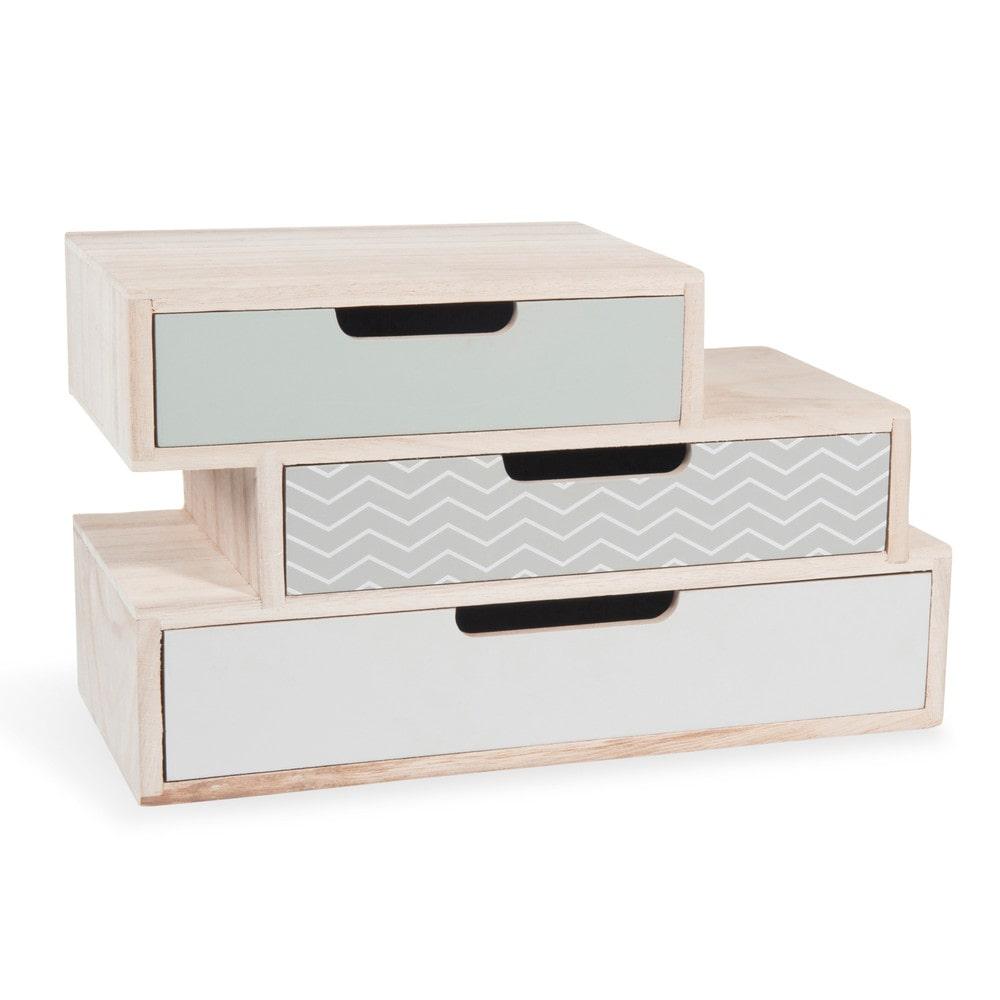 Bo te 3 tiroirs en bois l 30 cm nolita maisons du monde for Mini meuble en bois